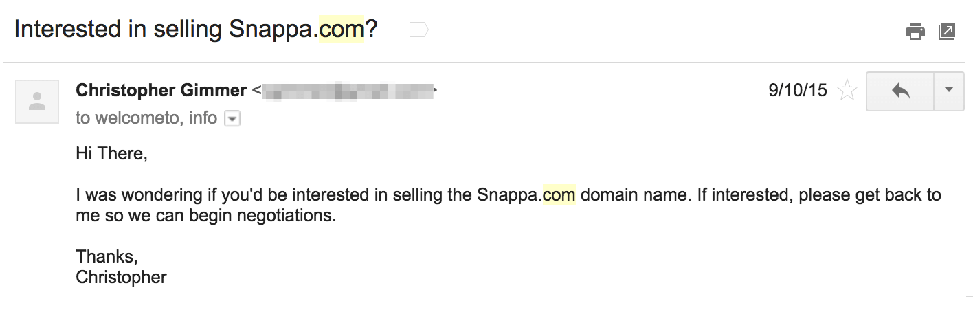 First email pitch sent to seller