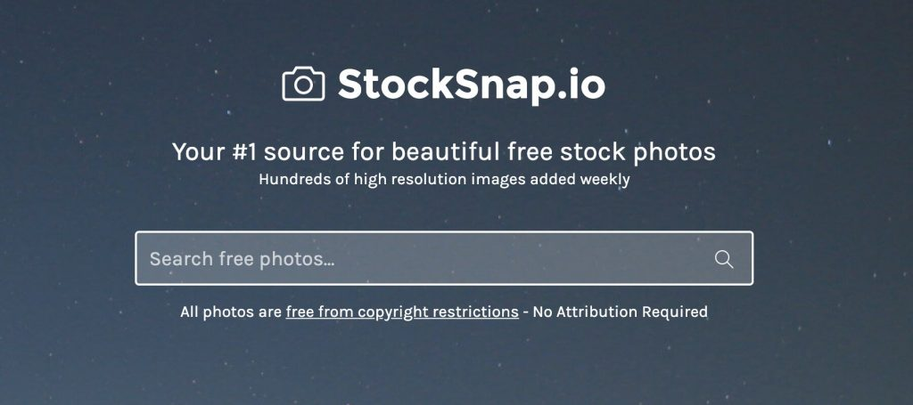 StockSnap home page